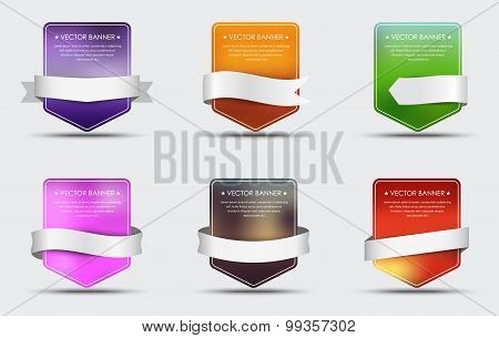 Set Of Banners With Blurred Background And Ribbon