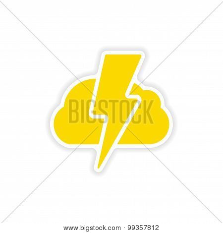icon sticker realistic design on paper lightning cloud