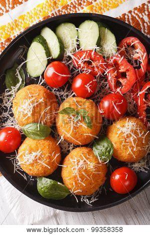 Arancini Rice Balls With Parmesan Closeup. Vertical Top View