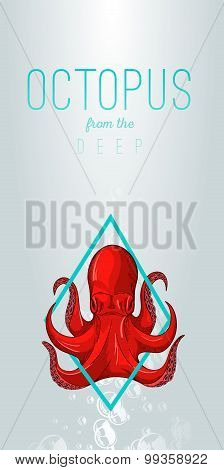 Octopus In Deep. Vector Color Illustration On Gradient Background With Decorative Element.