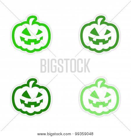 assembly realistic sticker design on paper pumpkin