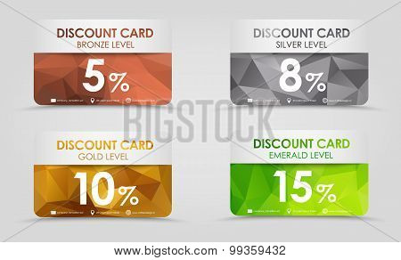 Discount Cards Polygonal Background