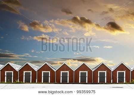 Row Of Traditional Boathouses