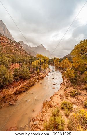 Virgin River and Watchman in Fall
