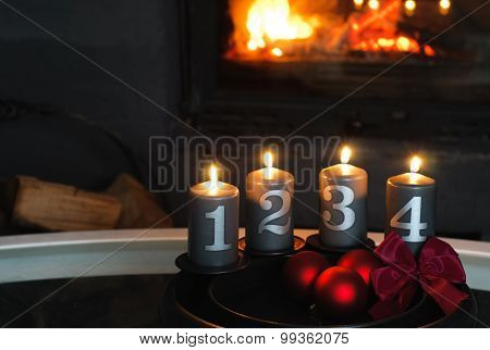 Advent Wreath in Front of Fireplace