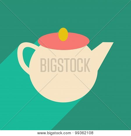 Flat with shadow icon and mobile application kettle