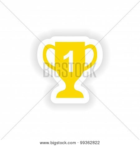 icon sticker realistic design on paper cup winner