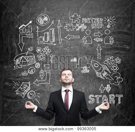 Meditative Manager, Businessman, Student Is Thinking About Business Opportunities. A Concept Of Brai