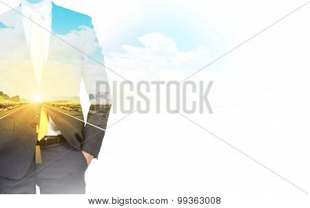 A Transparent Silhouette Of A Businessman. A Road Landscape On The Background.