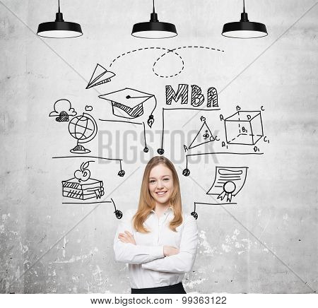 A Young Smiling Lady Is Thinking About Mba Degree. Educational Chart Is Drawn Behind Her. A Concept