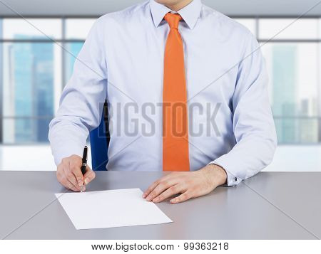 A Lawyer And Contract Signing Process. Singapore View On The Background.