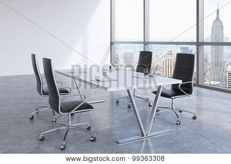 Modern Meeting Room With Huge Windows Looking At The New York City, Manhattan. Black Leather Chairs