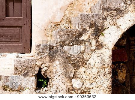 Stone Wall Background With Door And Window