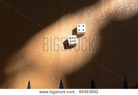 Wooden Backgammon Board With Dices