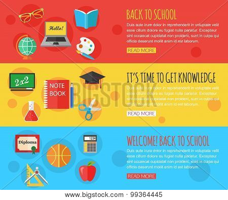 Back to school and education horizontal banners with computer, open book, desk, globe and other scho