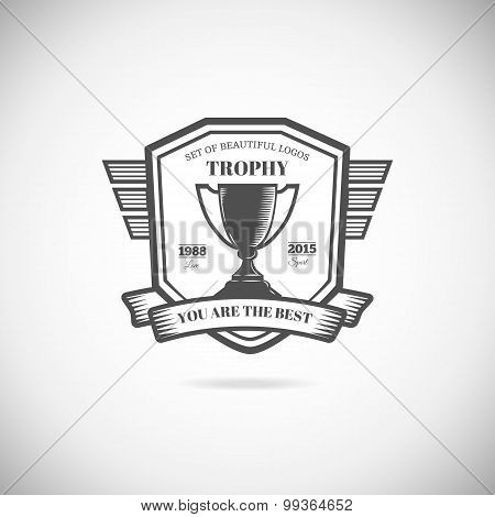 Logo victory trophy and award