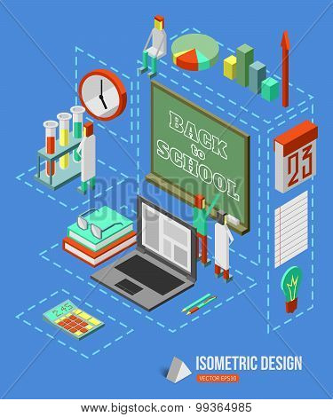 Back to school isometric 3d background with school building and isometric school icons. Flat style d