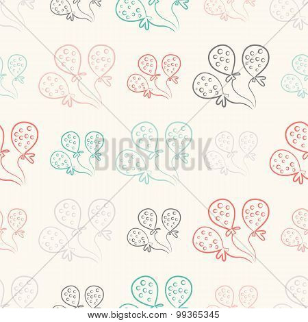 Seamless pattern with balloons. Vintage doodle style
