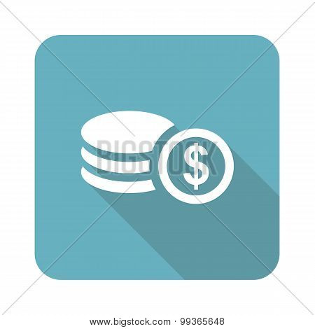 Dollar rouleau icon, square
