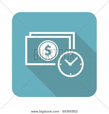 Dollar time icon, square