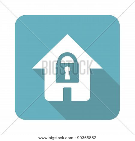 Locked house icon, square