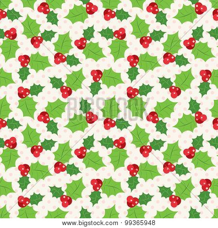 Seamless pattern of holly berry sprig.  illustration