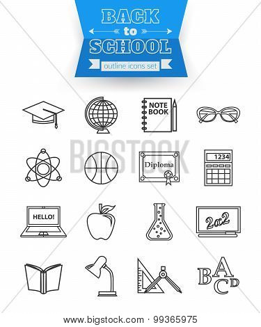 Set of back to school and education outline icons. Open book, computer, globe and other school suppl