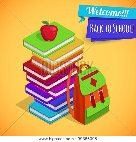 Back to school isometric background with pile of colorful books, red apple and school bag over yello