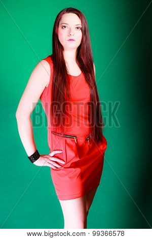 Long Hair Woman In Red Dress.