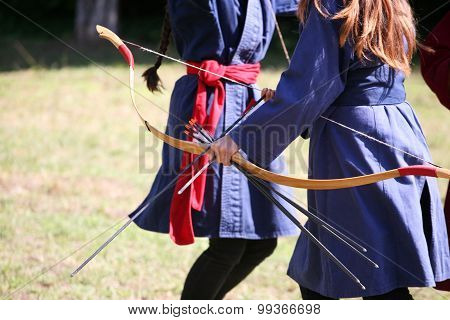 Female Archers On A Medieval Fighting Event