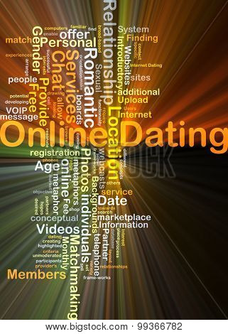 Background concept wordcloud illustration of online dating glowing light