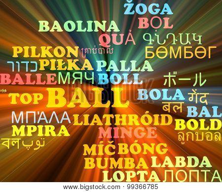Background concept wordcloud multilanguage international many language illustration of ball glowing light