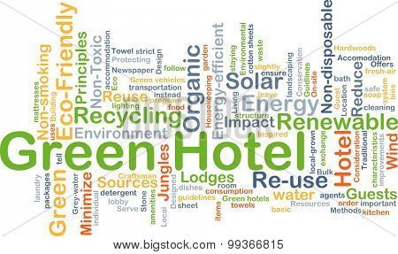 Background concept wordcloud illustration of green hotel