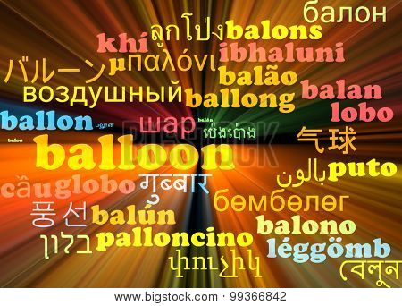 Background concept wordcloud multilanguage international many language illustration of balloon glowing light