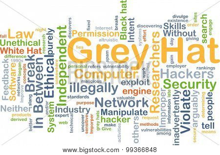 Background concept wordcloud illustration of grey hat