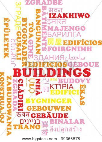 Background concept wordcloud multilanguage international many language illustration of buildings