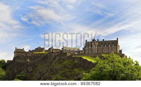 Edinburgh castle on a cliff in Scotland, UK