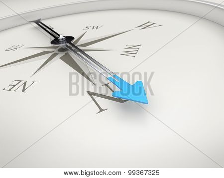 An image of a stylish compass with a blue arrow