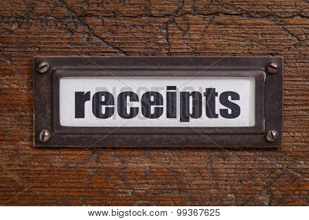 receipts - a label on a grunge wooden file cabinet - accounting or bookkeeping concept