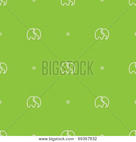 Vector minimalistic elephant seamless pattern. Outline green simple  animal background
