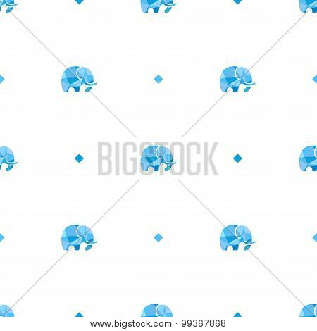 Vector polygonal minimalistic mammoth seamless pattern.