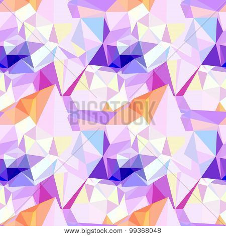 Vector low poly seamless pattern. Abstract diamond background in pink, violet and blue colors