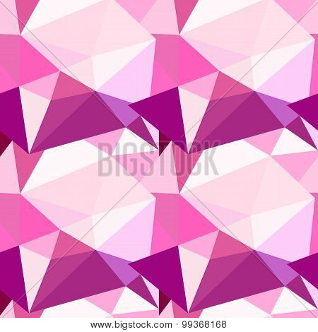 Vector low poly seamless pattern. Abstract diamond background in pink colors