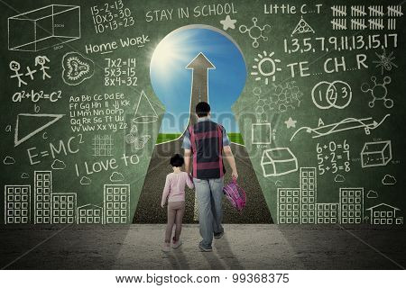 Girl And Dad Walking Through A Keyhole
