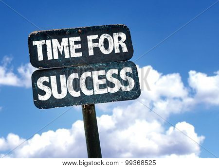 Time For Success sign with sky background