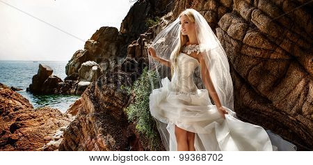 Sensual Bride Posing Outdoor.