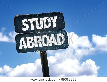 Study Abroad sign with sky background