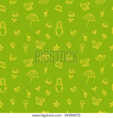 Vector hand drawn summer seamless pattern. Green vacation background
