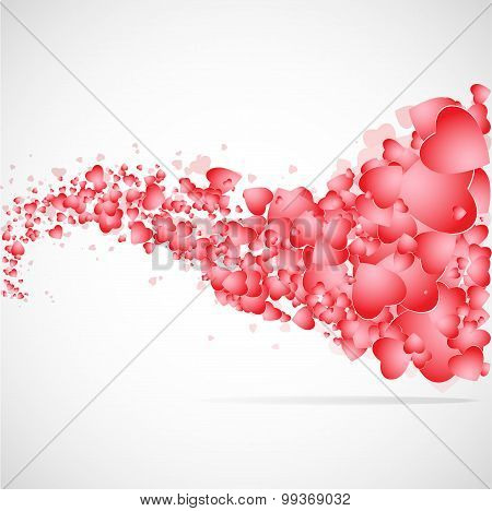 Vector hearts flat background.
