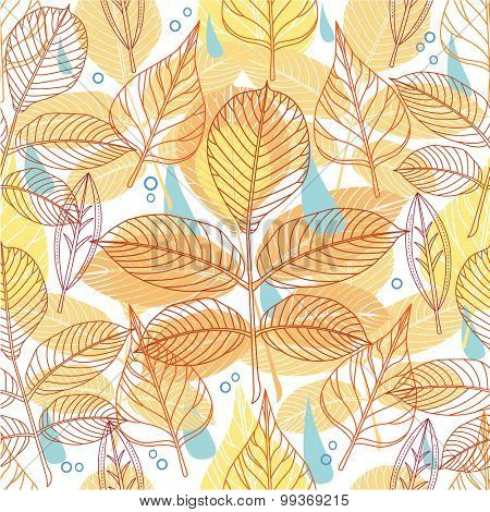 A seamless pattern with autumn leaves